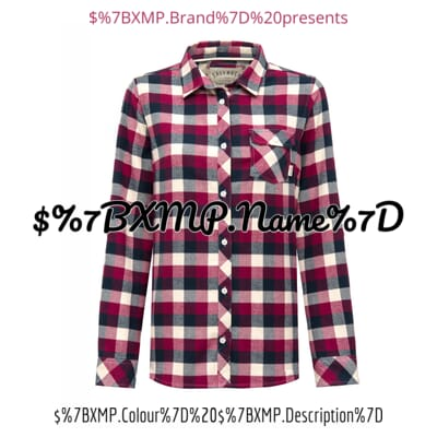 Image of women's shirt with text and metadata overlays